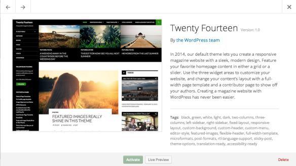 WordPress 3.9 themes-experience