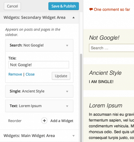 WordPress 3.9- widget-customizer