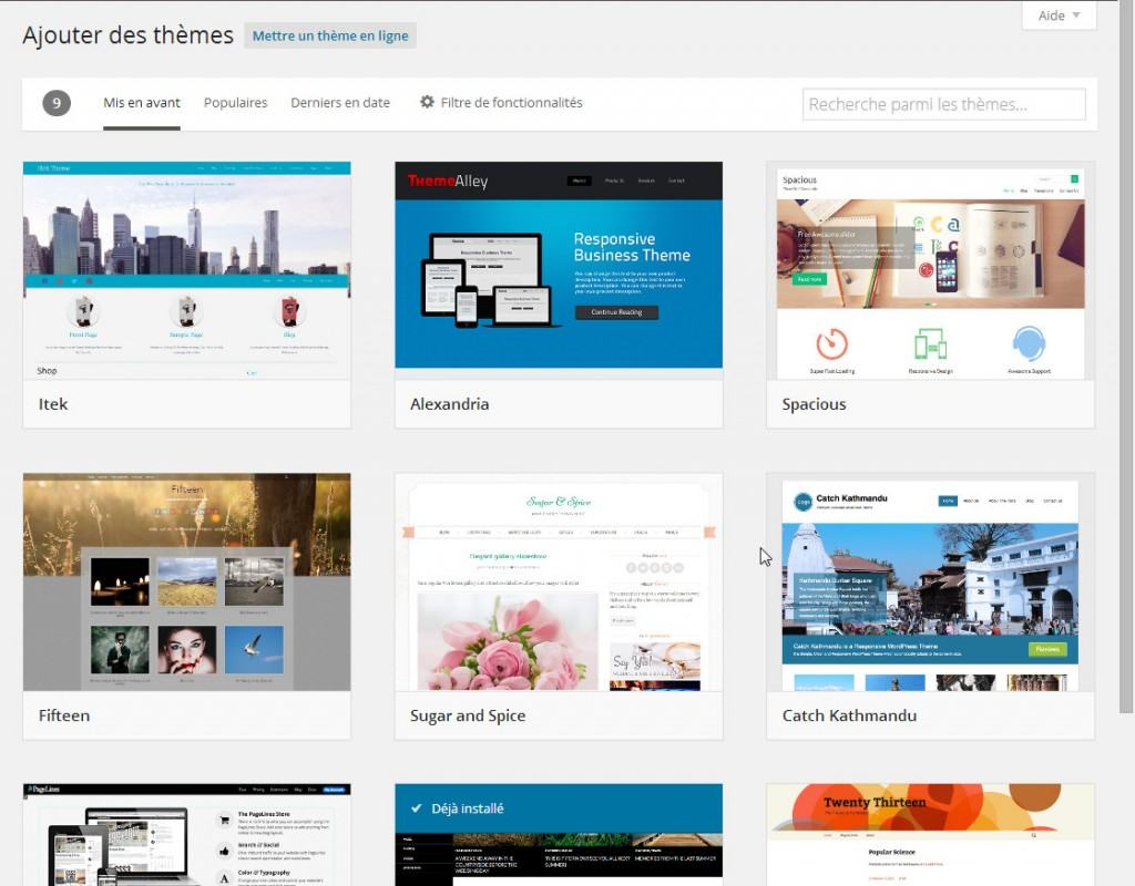 WordPress 3.9 - sélecteur de theme