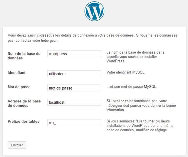 données connexion WordPress