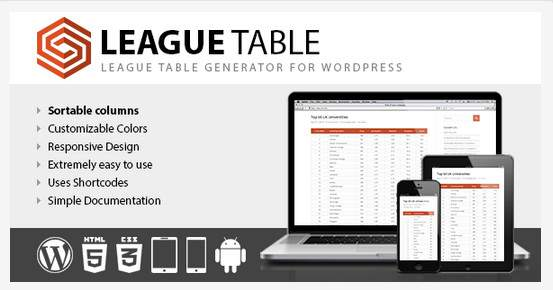 League Table - plugin pour tableau WordPress