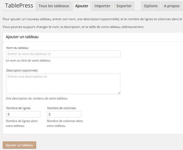 Table Press plugin pour tableau WordPress