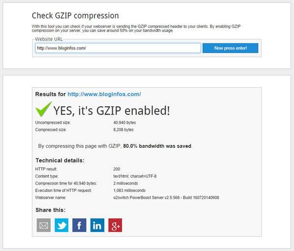 Résultat Test Compression GZip