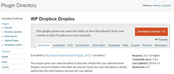 WP Dropbox Dropins