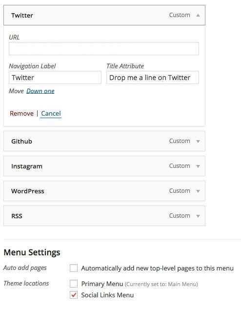 menu réseaux sociaux