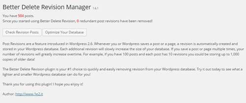 Supprimer les révisions de votre base de données