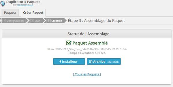 Duplicator - Ecran Paquet Assemblé