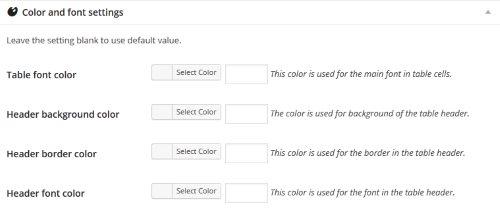 Paramètres de couleur et police de caractères du tableau