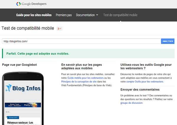 Test de compatibilité mobile