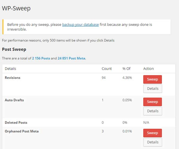Ecran WP Sweep