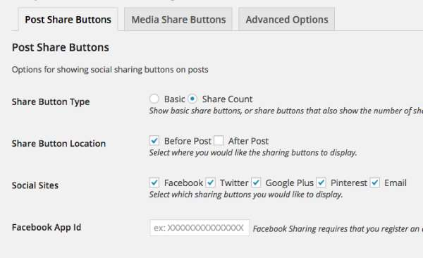 Easy Social Share Buttons Options