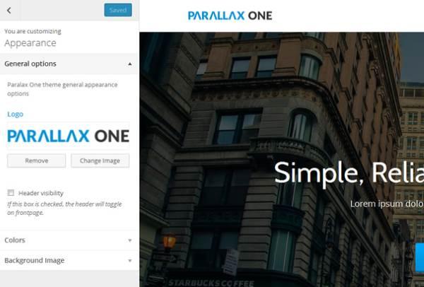 Parallax One - Customizer