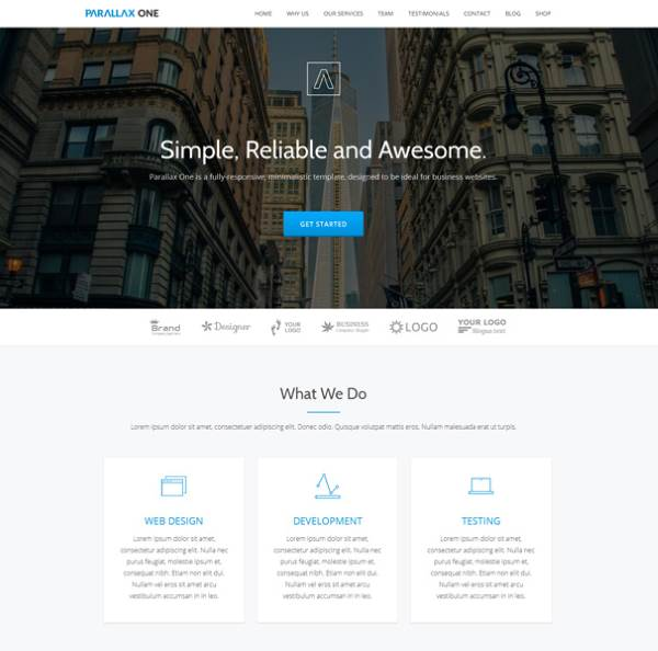 Parallax One - Page Accueil