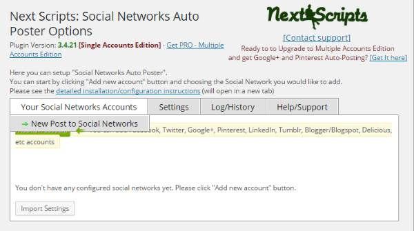Social Networks Auto-Poster - Accueil