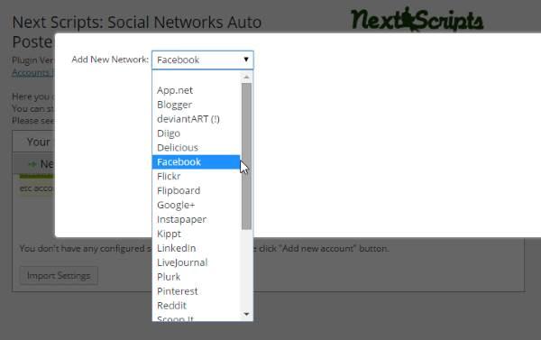 Social Networks Auto-Poster - selection de compte
