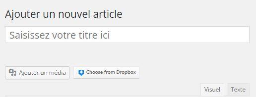 Bouton de sélection Dropbox