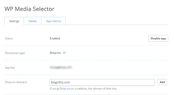 Dropbox clé API