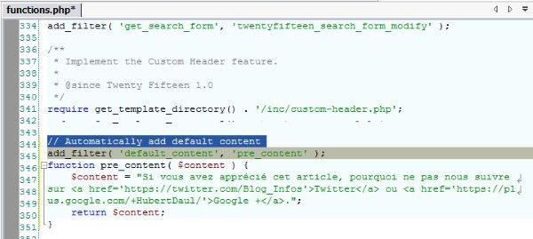Insérer automatiquement du texte dans l'éditeur WordPress