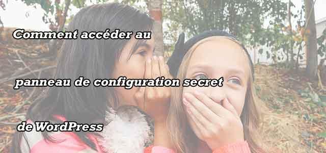 Accéder au panneau de configuration secret