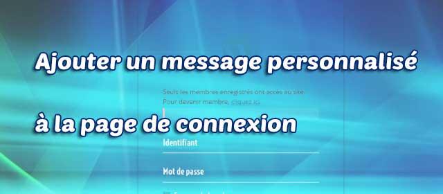 ajouter un message personnalisé à la page de connexion