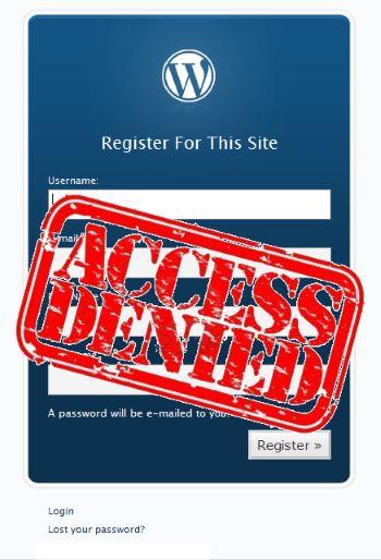 interdire l'enregistrement de nouveaux utilisateurs