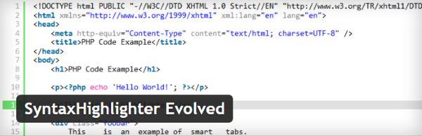 Insérer des exemples de code dans vos articles WordPress - Syntax Highlighter Evolved