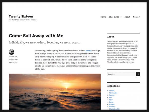 Twenty Sixteen - Le nouveau Thème WordPress par défaut