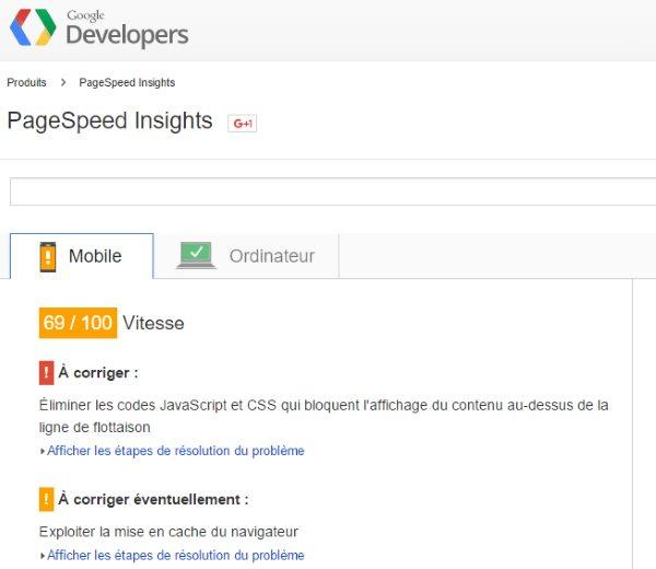 Google Pagespeed Insights pour diminuer le temps de chargement