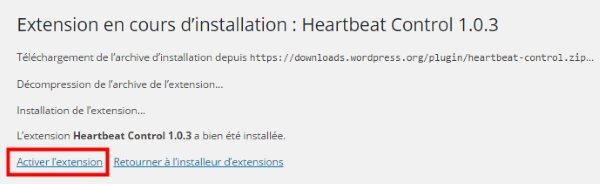 Activer plugin HeartBeat Control