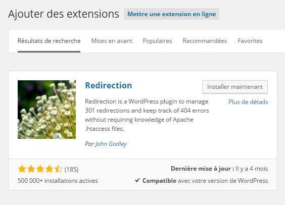 Installation plugin Redirection