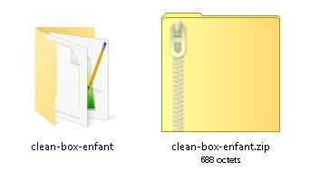 Fichiers contenus dans le dossier enfant