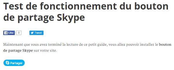 Exemple d'utilisation du bouton de partage Skype