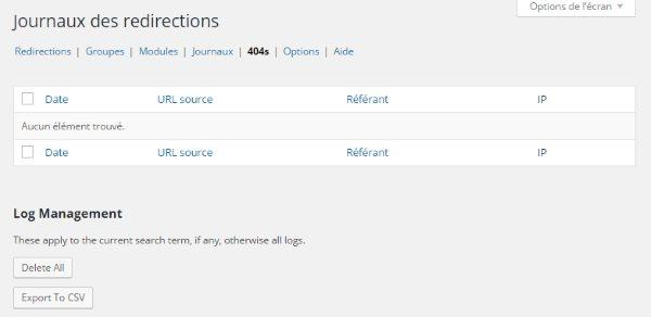 Journal redirection - erreurs 404
