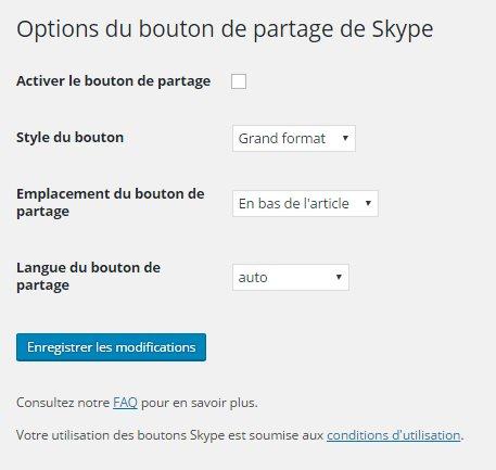 Page d'options de Skype Share
