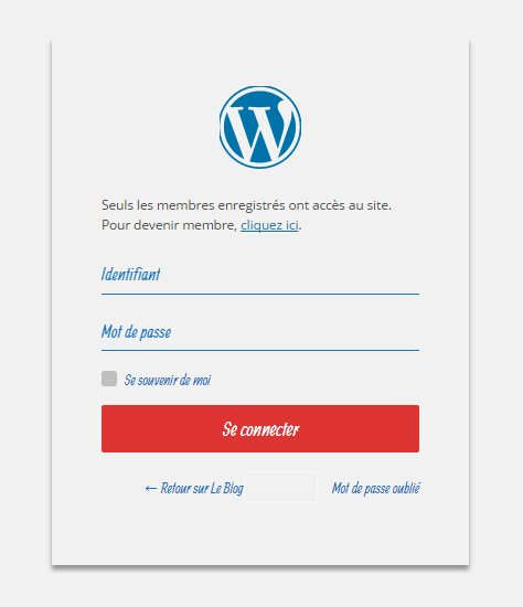 Ecran blanc de la mort - Ecran de connexion WordPress