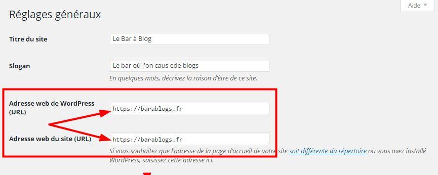 Réglages HTTPS WordPress