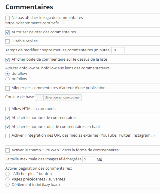 de:comments - paramètres