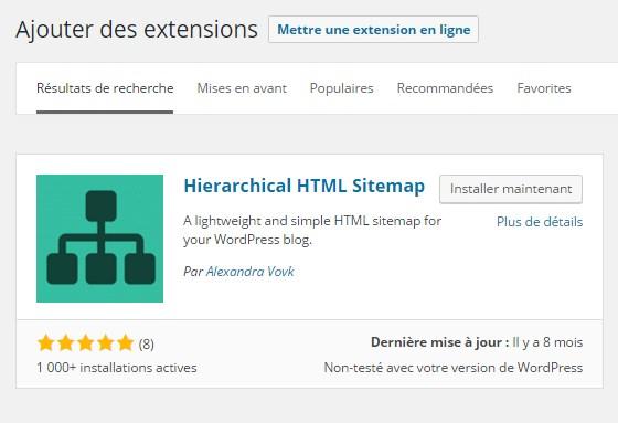 Plan de site HTML - Installer Hierchical Html Sitemap