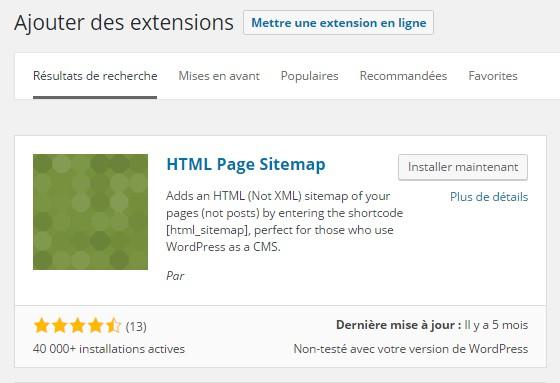 Plan de site HTML - Installer HTML Page Sitemap Plugin