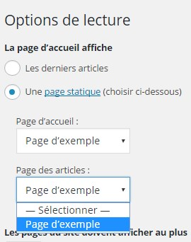 créer une page pour vos articles de blog