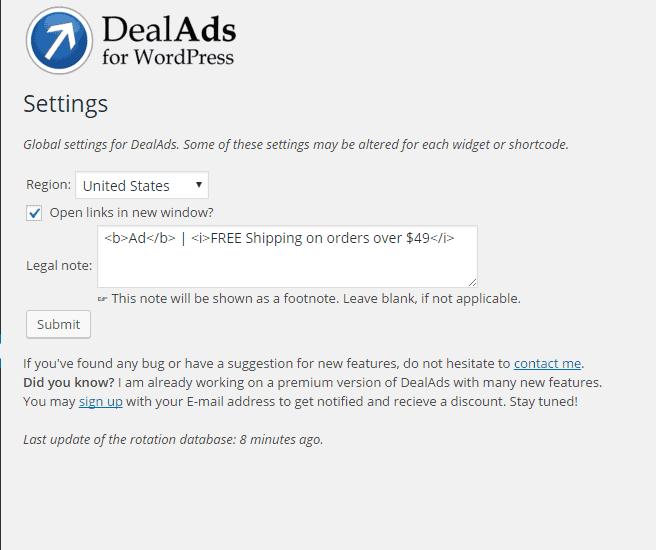 Paramètres DealAds