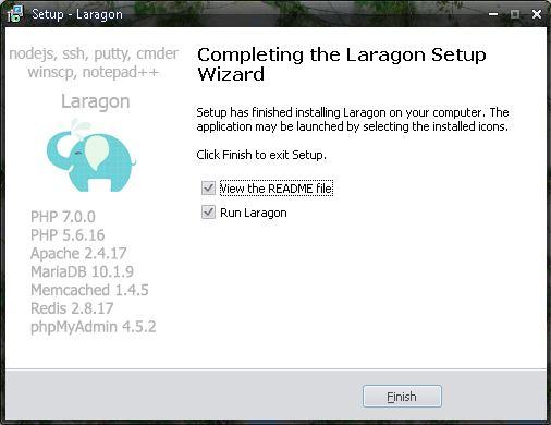 Fin d'installation de Laragon