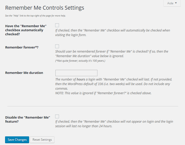 Remember Me Controls settings