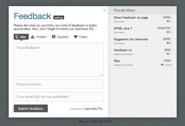 Usernoise Pro - Popup Feedback