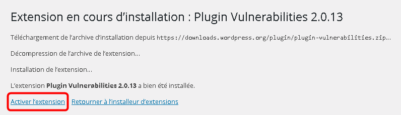 Plugin Vulnerabilities Activation