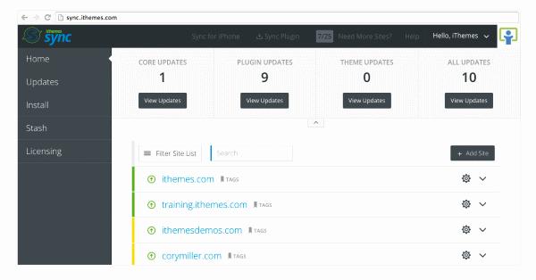 Gérer les mises à jour WordPress avec iThemes Sync