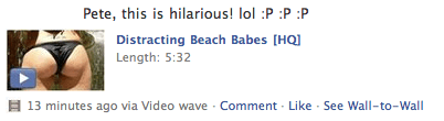 facebook malware - beach babes video