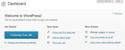 WordPress 3.5 Fenetre Accueil