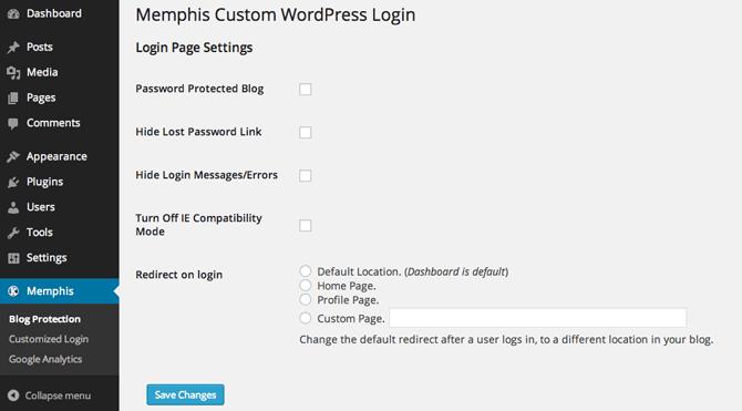 Memphis Custom Login  blog protection