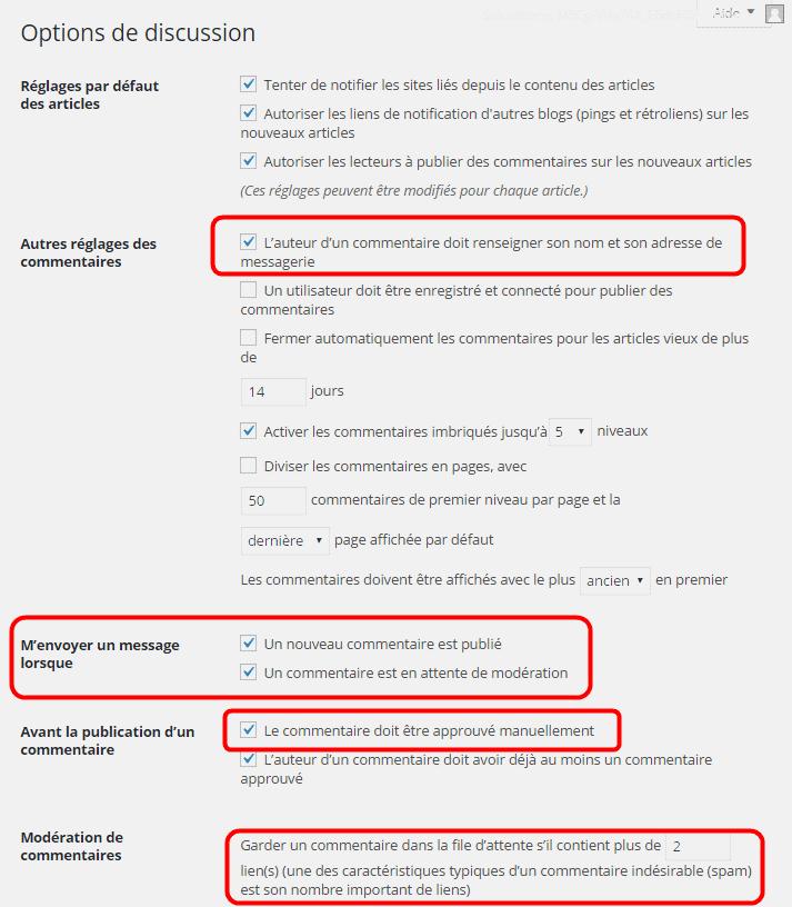 Limiter le spam - Options de discussion